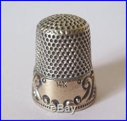 Dé à coudre OR ARGENT MASSIF Poinçon 14 K Gold