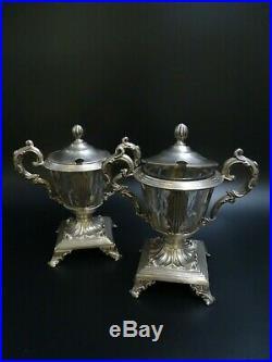Deux Moutardiers Argent Massif Et Cristal Poinçons Minerve Très Beaux Modèles