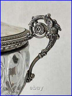 Drageoir en Cristal Taillé & Argent Massif Poinçon Vieillard Époque Début XIXème