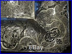 Exceptionnel, Grand plat ou coupe en argent massif Perse, poinçon 84