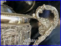 Grand Drageoir Confiturier Argent & Cristal Poincon Vieillard Ep. 1820 Haut. 29cm