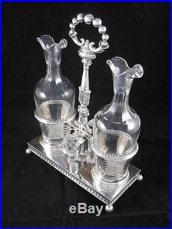 HUILIER VINAIGRIER, ARGENT MASSIF, Poinçon VIEILLARD, style Empire, orfèvr Courtois