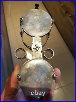 Huilier Vinaigrier Argent Massif Poinçon Coq blason couronne Old Silver XVIIIe