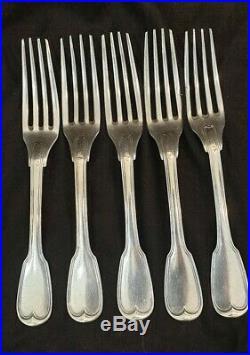 Lot 5 fourchettes argent massif 473 gr poinçon vieillard 1 er titre XIX