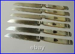 Lot de 6 couteaux XIXéme Poinçon Vieillard 1819-1836 argent massif et nacre