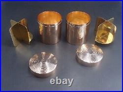 Maison Hermes Rare Paire Boites Circulaires Vermeil Poincon Minerve 1 Er Titre