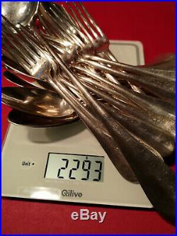 Ménagère complète argent massif 2,3 kg Poincon Minerve 1er titre 25 pièces