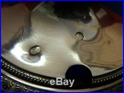 Moutardier argent massif poinçon Coq 1809 verrine bleue Sphynges Sphynx