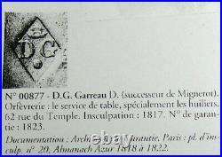 Moutardier argent massif poinçon Vieillard, 1819-1838, dauphins, excellent état
