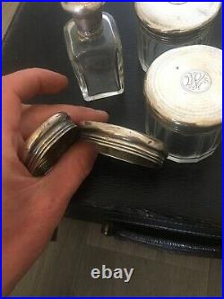 NECESSAIRE TOILETTE ARGENT MASSIF 4 Flacons + 2 Couvercle Seul Poincons Anglais
