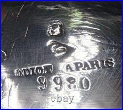 Odiot Rare Plateau Octogonale En Argent Massif Poincon Minerve Frise Oves