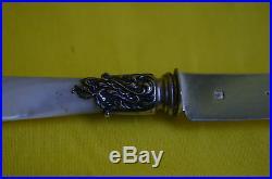 PUIFORCAT 12 couteaux lames en argent massif poinçon Minerve manches nacre
