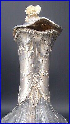 Paire Aiguieres Argent Massif Poincon Minerve Cristal Decor Louis XV Par Sandoz