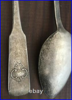 Paire Cuillères Argent Massif Poincon Russe 84 Wk 1858 Russia