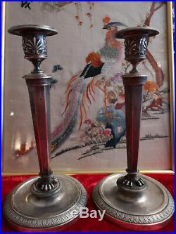 Paire De Flambeaux Louis XVI Argent Massif Poincon Coq / Argenterie Ancienne