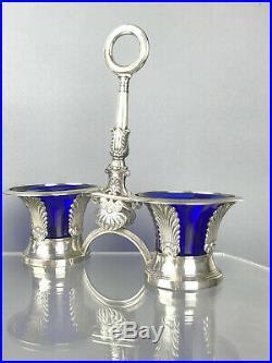 Paire De Salerons En Argent A Decor De Palmettes (poinçon Vieillard 1818-1839)