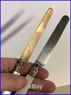 Paire de Couteau a Fruit Argent Massif Vermeil Poinçons Vieillard Empire Nacre