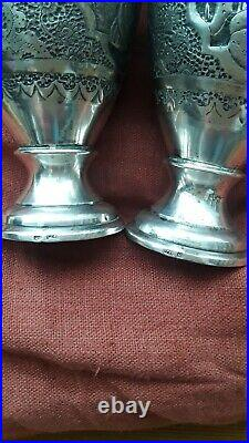 Paire de vase Argent Massif- KADJAR. PERSE IRAN art Islamique poinçons 84