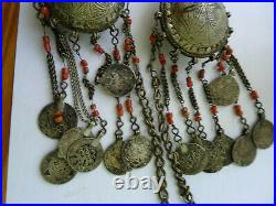 Parure argent corail, poincon algerie berbere amazigh 288 gr. Ethnique maroc