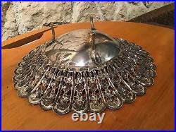 Plat Argent Massif Egypte Le Caire Apres 1946 Poincon Palmier 900 Millièmes 270g