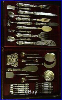 Puiforcat Rare Coffret 33 Pieces De Service Argent Poincon Minerve Sanglier