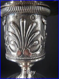 RARE PAIRE DE BOUGEOIRS EN ARGENT MASSIF POINCON 1 ER COQ PARIS 1798 par BLERZY
