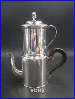 Rare Cafetiere Filtre Complete En Argent Massif Poincon Vieillard Paris 1819