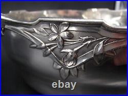 Rare Legumier Rond En Argent Massif Poincon Minerve 1 Er Titre Art Nouveau