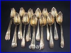 Rare Menagere 12 Couverts A Entremets Vermeil Poincon Minerve Armoiries Couronne