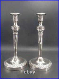 Rare Paire De Bougeoirs Argent Massif Poincon Vieillard Paris 1819 Par Garreau