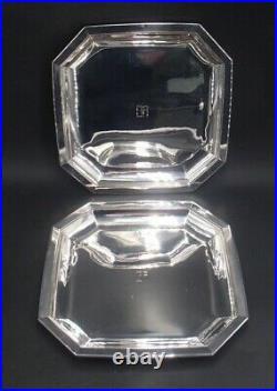Rare Paire De Plats Octogonaux En Argent Massif Poincon Minerve Art Deco Tetard