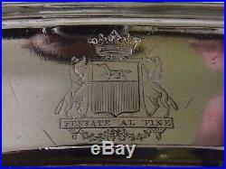 Rare Plat Ovale Triple Filets En Argent Massif Poincon Coq Paris 1809 Armoiries
