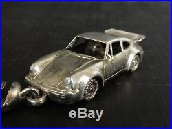 Rare Porte Clé, Clef Vintage en Argent Massif, poinçon Minerve. Porsche 911