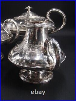 Rare Service A The En Argent Massif Poincon Minerve Stytle Ottoman Par Hugo
