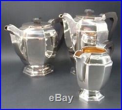 Rare Service The Cafe Art Deco 4 Pieces 2.3 KG Argent Massif Poincon Minerve