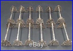 Rare Suite 12 Porte-couteaux Argent Massif Poincon Minerve Art Nouveau Chardons