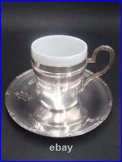 Rare Suite 6 Tasses Et Sous Tasse En Argent Poincon Minerve Modele Filets Rubans