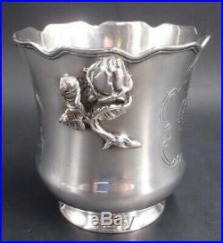 Rare Vase Ou Rafraichissoir En Argent Massif Poincon Minerve Armoiries 19 Eme