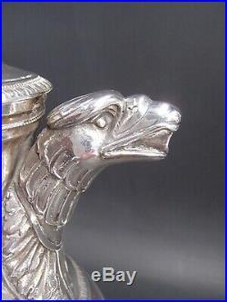 Rare Verseuse Tripode En Argent Massif Poincon Coq Paris 1809 Bec Tete Aigle