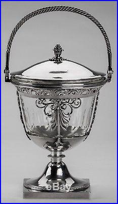 SUCRIER POINÇON 1er COQ PARIS 1798 SUCRIER DRAGEOIR ARGENT MASSIF & CRISTAL