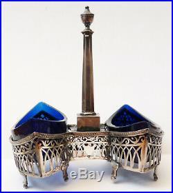 Salière en ARGENT massif + verre bleu Révolution 1798 poinçon Coq sel poivre