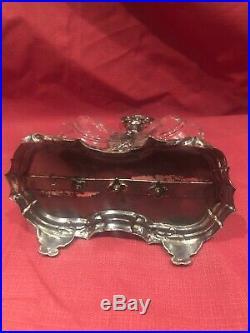 Saliere(sel -poivre) En Argent Massif Poincon -cristal Louis XV