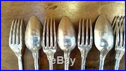Serie De 6 Cuilleres + 6 Fourchettes Argent Massif Poincons Minerve 950/1000