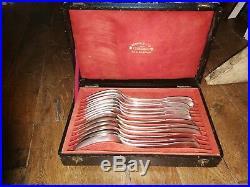 Serie De 6 Cuilleres + 6 Fourchettes Argent Massif Poincons Vieillard 950/1000
