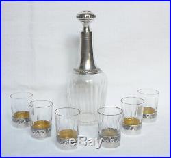 Service à liqueur en CRISTAL et ARGENT MASSIF style Empire poinçon MINERVE