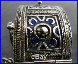 Superbe Bracelet Berbère En Argent Massif Et Emaille Bleu Poinçon Bouc Maroc