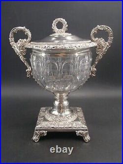 Superbe Grand Drageoir En Argent Massif Et Cristal Poincon Viellard Paris 1819