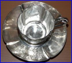 TASSE A CAFE et SOUCOUPE EN ARGENT XIXe Poinçon MINERVE POIDS 117,5g
