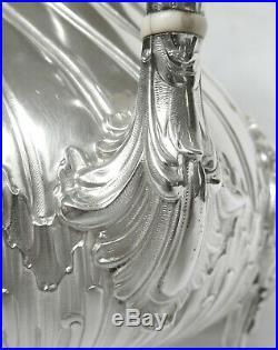 TETARD verseuse ARGENT MASSIF rocaille, poinçon MINERVE, armoiries marquis