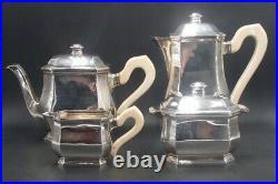Tetard Tres Beau Service The Cafe 4 Pcs Argent Massif Poincon Minerve 1 Er Titre